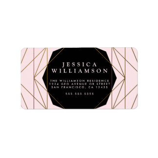 Modern Geometric Gold, Blush & Black Bridal Brunch Label