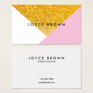 Modern Geometric Gold Minimalist Business Card