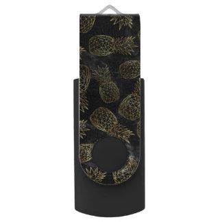 Modern geometric gold pineapples design USB flash drive