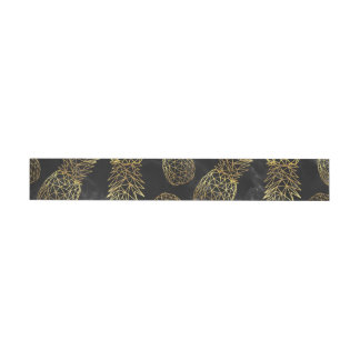 Modern geometric gold pineapples design wrap around label