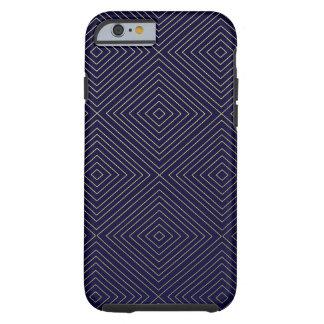 Modern Geometric Gold Squares Pattern on Navy Blue Tough iPhone 6 Case