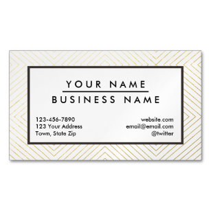 gold and white geometric pattern business cards profile cards