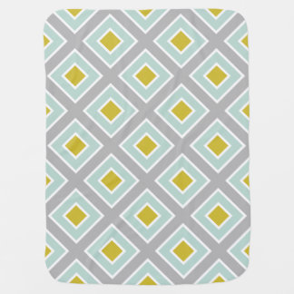 Modern Geometric Gray Mint Blue Green Pattern Baby Blanket