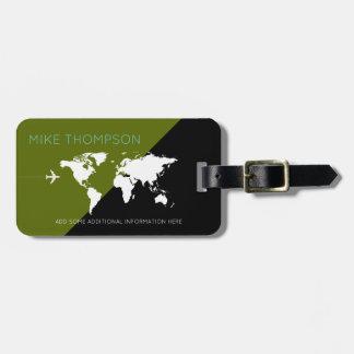 modern & geometric green / black world travel luggage tag