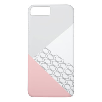 Modern Geometric Grey Coral iPhone 7 Plus Case