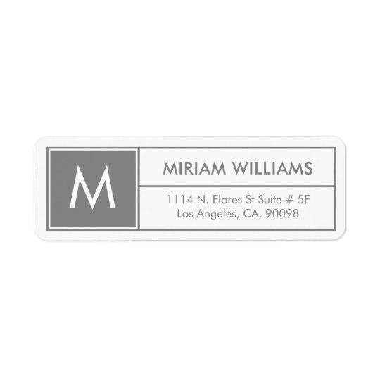 Modern Geometric Grey Frame Custom Monogram Return Address Label
