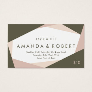Modern Geometric Jack and Jill Ticket, Rose Business Card