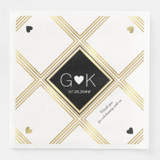 modern geometric lines with monogram for wedding paper dinner napkin
