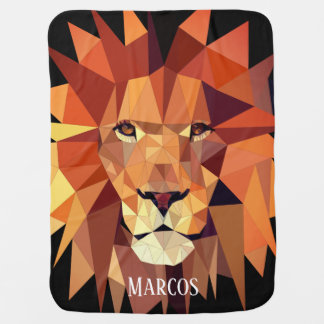 Modern Geometric Lion & Baby's Name Baby Blanket