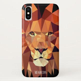 Modern Geometric Lion Custom Name Case-Mate iPhone Case