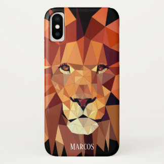 Modern Geometric Lion Custom Name iPhone X Case
