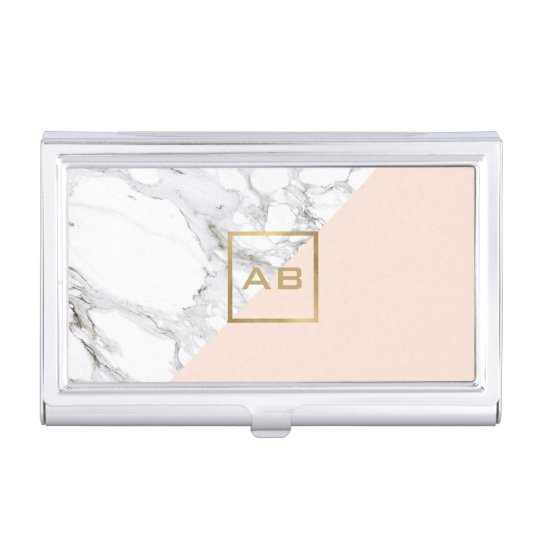 Modern Geometric Marble/Pink Monogram Logo Case For Business Cards