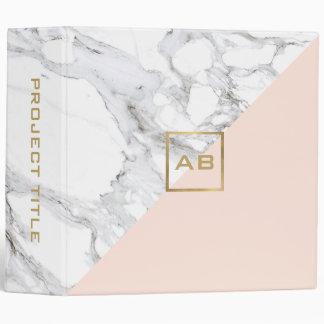 Modern Geometric Marble/Pink Monogram Logo Vinyl Binders