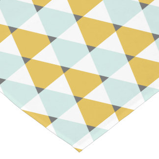 Modern Geometric Mint Yellow Triangles Pattern Short Table Runner