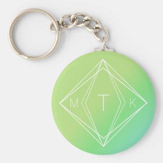 Modern Geometric Monogram   Green, Blue Gradient Keychain