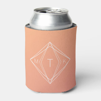 Modern Geometric Monogram | Pink, Peach Gradient Can Cooler