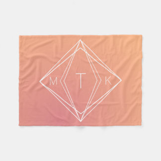 Modern Geometric Monogram | Pink, Peach Gradient Fleece Blanket