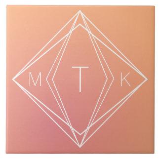Modern Geometric Monogram | Pink, Peach Gradient Tile
