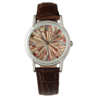 Modern Geometric Mosaic, Brown and Beige Watch