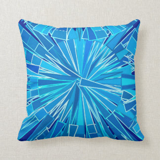 Modern Geometric Mosaic, Cobalt and Sky Blue Throw Pillow