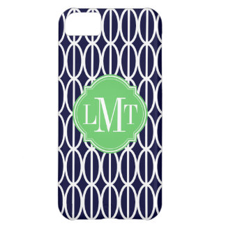 Modern Geometric Navy Blue White Pattern Monogram iPhone 5C Cover