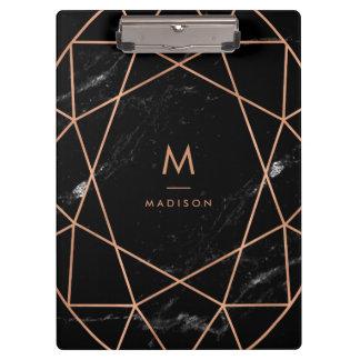 Modern Geometric on Black Marble Look Clipboard