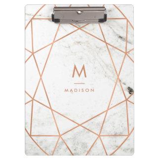 Modern Geometric on White Marble Clipboard