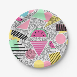 Modern geometric pattern Memphis patterns inspired Paper Plate