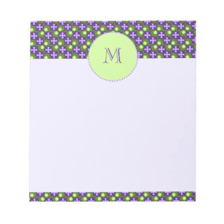 Modern Geometric Pattern, Shades of Green & Purple Notepad