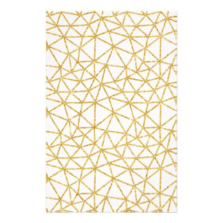Modern Geometric Pattern White Gold Glitter Stripe Stationery