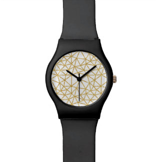 Modern Geometric Pattern White Gold Glitter Stripe Watch