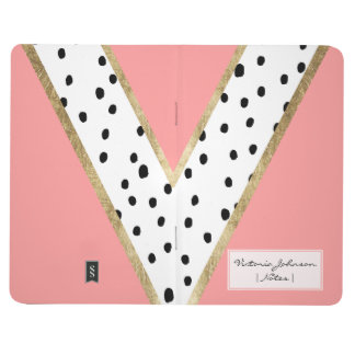 Modern geometric pink gold color block polka dots journal