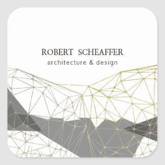 Modern Geometric Polygonal Gold Silver White Square Sticker