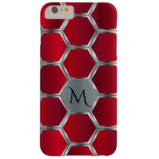Modern Geometric Red & Silver Pattern Monogram GR3 Barely There iPhone 6 Plus Case