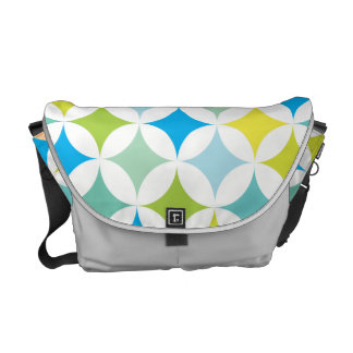 Modern Geometric Retro Teal Blue Courier Bag