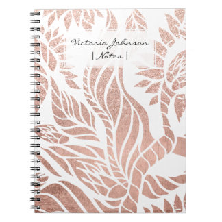 Modern geometric rose gold botanical floral notebooks