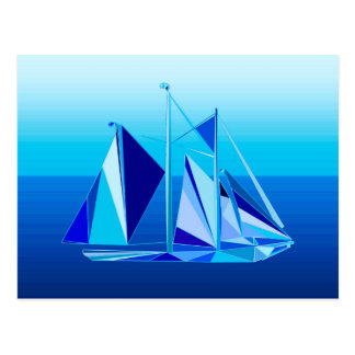 Modern Geometric Sailboat / Yacht, Cobalt Blue Postcard