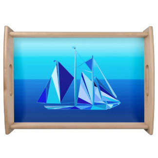 Modern Geometric Sailboat / Yacht, Cobalt Blue Serving Tray