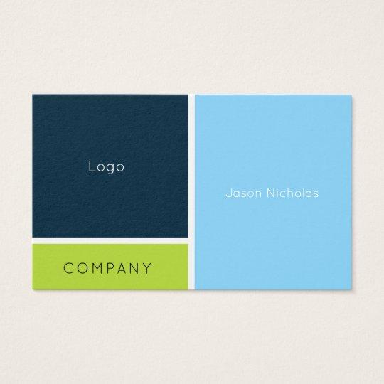 Modern geometric split blue green business card