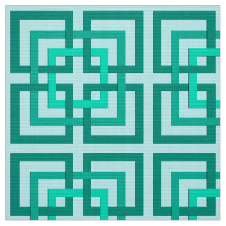 Modern Geometric Squares, Aqua and Turquoise Fabric