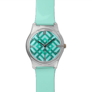 Modern Geometric Squares, Aqua and Turquoise Watch
