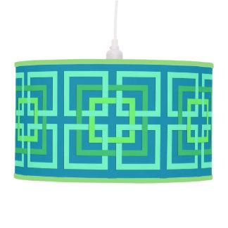 Modern Geometric Squares, Aqua, Teal, Lime Green Pendant Lamp