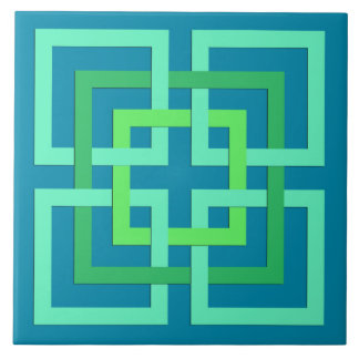 Modern Geometric Squares, Aqua, Teal, Lime Green Tile