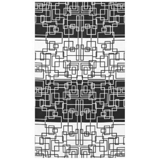Modern Geometric Squares BW Mix Tablecloth