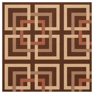 Modern Geometric Squares, Chocolate Brown and Tan Fabric