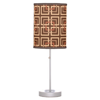 Modern Geometric Squares, Chocolate Brown and Tan Table Lamp