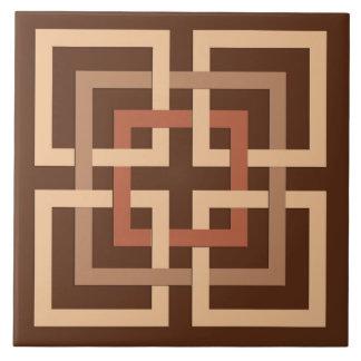 Modern Geometric Squares, Chocolate Brown and Tan Tile