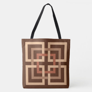 Modern Geometric Squares, Chocolate Brown and Tan Tote Bag