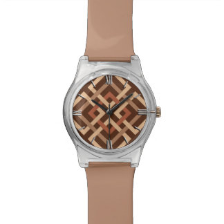 Modern Geometric Squares, Chocolate Brown and Tan Watch