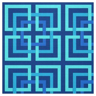 Modern Geometric Squares, Cobalt and Sky Blue Fabric